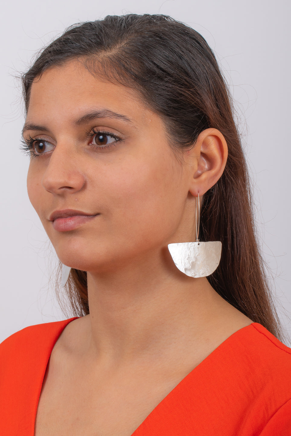 Textured Half Moon Earrings | Aluminum