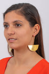 Textured Half Moon Earrings | Brass