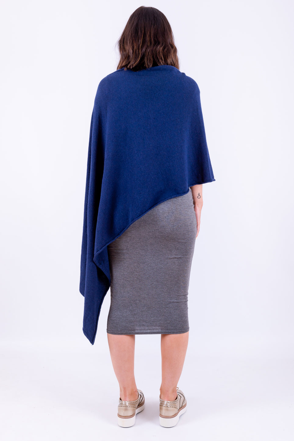 Sleeved Wool Poncho | Navy