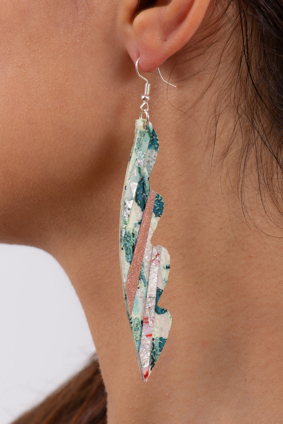 Ninette Textile Earrings | Jade, Champagne & Silver