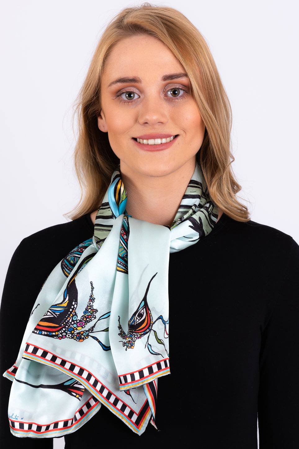 Silk Scarf | Birds on the Wheel