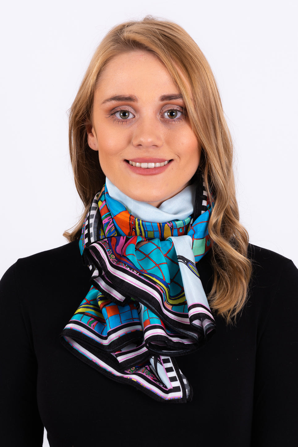 Silk Cotton Scarf | Teal Ribbons