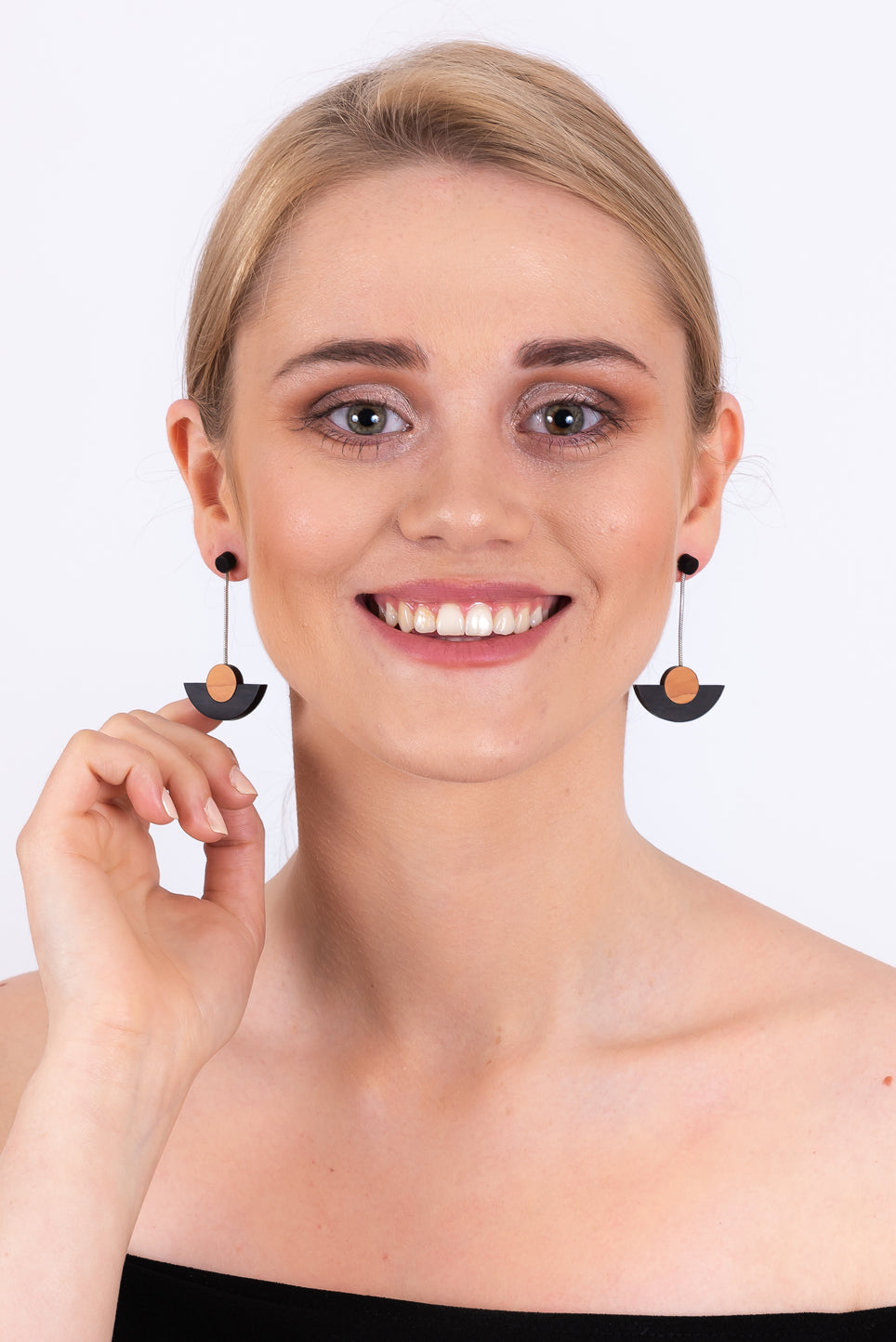 Semi-Circle Drop Earrings | Black & Silver