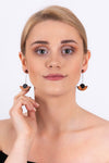Semi-Circle Drop Earrings | Wood & Silver