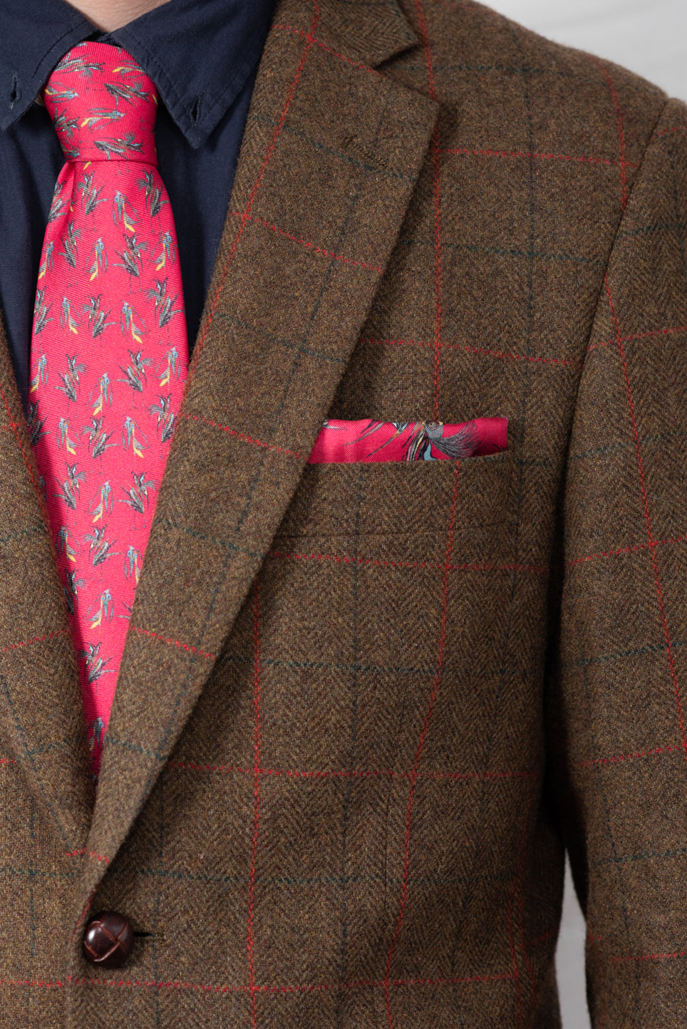 Silk Pocket Square | Red Birds