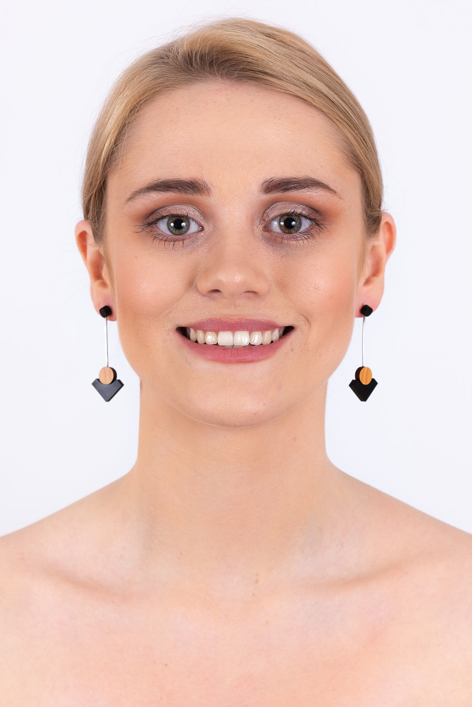 Square Drop Earrings | Black & Silver
