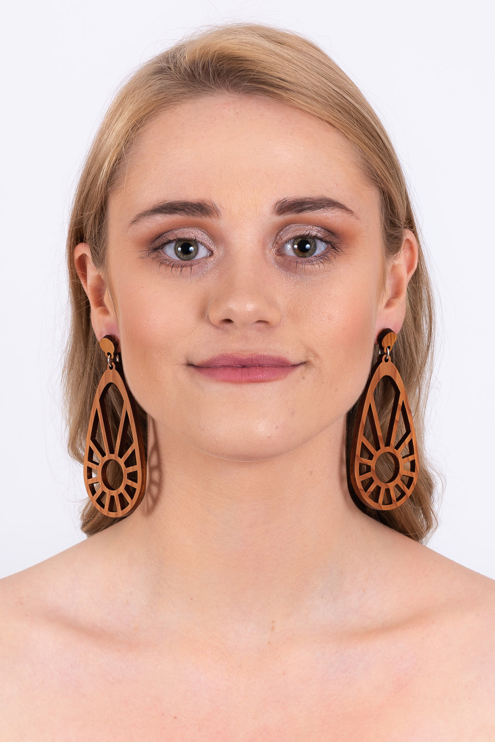 Sundial Earrings | Natural Wood