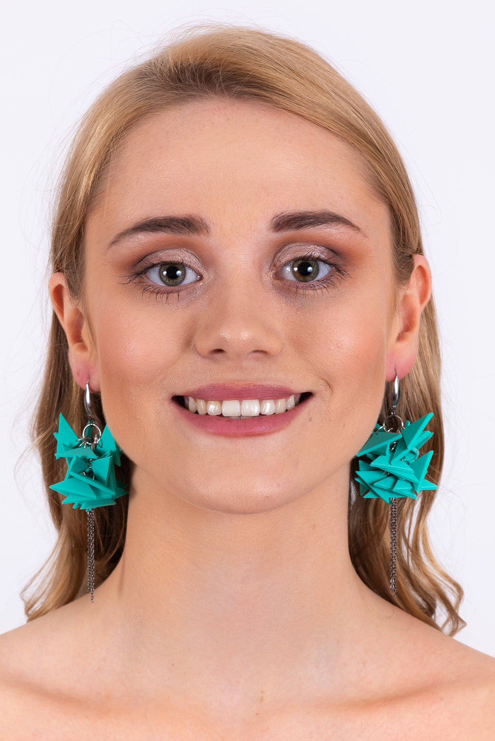 Triangles Drop Earrings With Chain | Turquoise