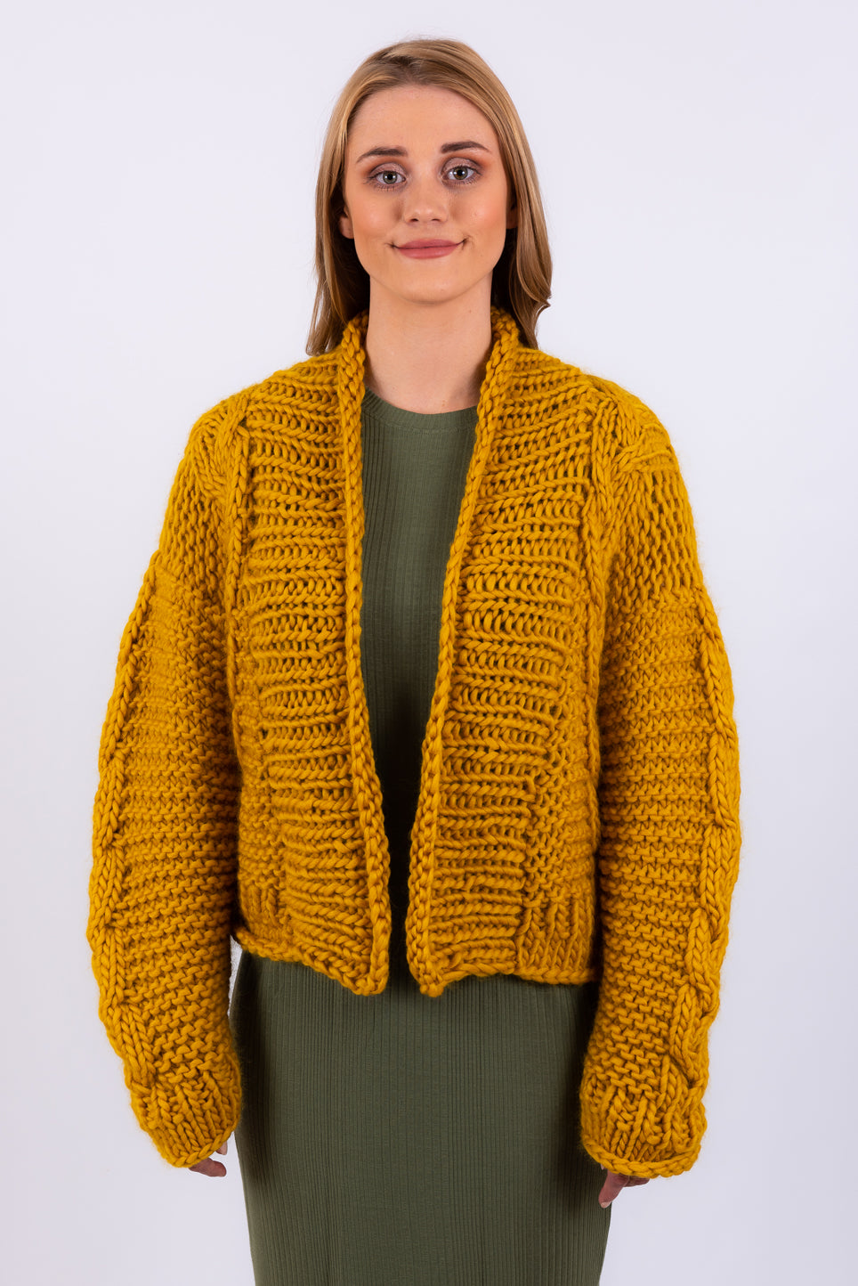 Cropped Twisted Cardigan | Mustard
