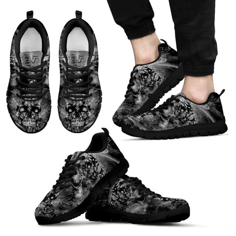 Black Tattoo Art Men's Sneakers - Black Sole