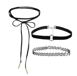 Set of 3 fashionable cute choker necklaces