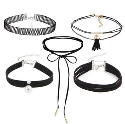 Set of 5 fashionable lace chokers