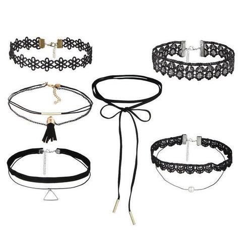 Set of 6 styles of fashionable lace chokers Set 1