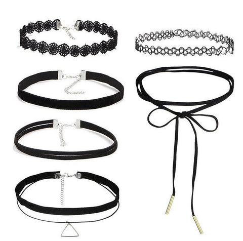 Set of 6 styles of fashionable lace chokers Set 2