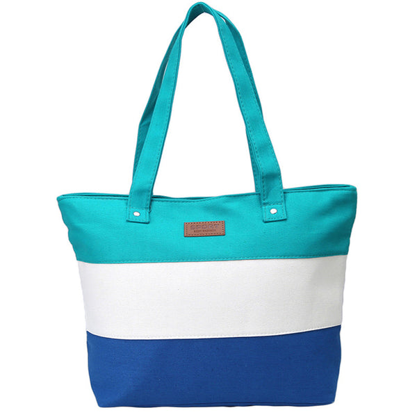 Women's Summer Striped Canvas Messenger Summer Beach Handbag