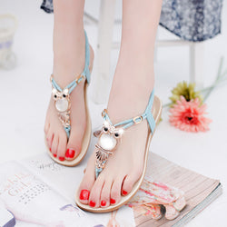 Women's Beaded Owl Sandals/Slip-On Shoes