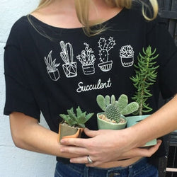 Flower Pot Printed Printing T-shirt Tops