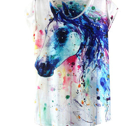 Summer Style Ink Painting Pattern Print T-Shirt Women