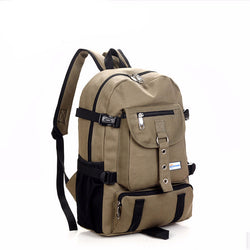 Men's Shoulder Strap Solid Canvas Designer Backpack