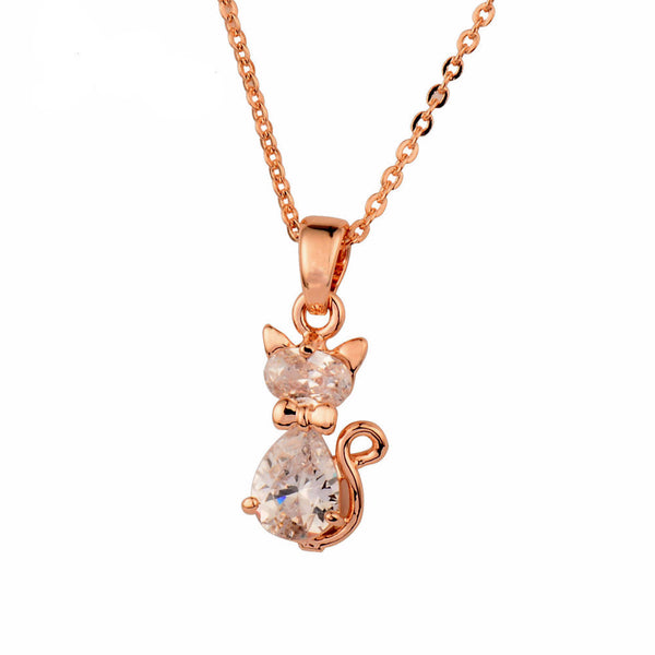 Charm White Cubic Zircon Cat Animal Pendant Necklace For Women Rose Gold Color Chain High Quality