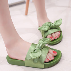 Women's Silk Bow Sandals/Slides