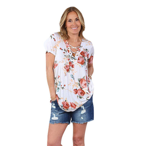 Lace Up Blouse Flower Print