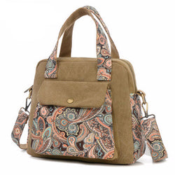 Vintage  Handbag Ethnic Style Print Flower Canvas Large