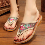 Flat Slides Beach Shoes Home Slippers Embroidery