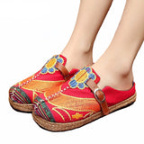 Vintage Women Slippers Casual Linen Cotton Handmade Floral Embroidery
