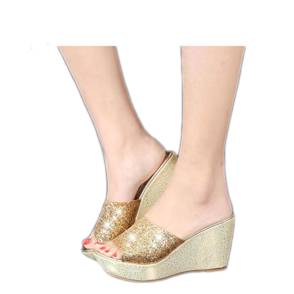 Women's Glittering Platform Wedge Sandals