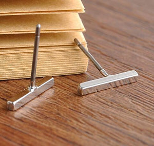 Silver Plated Minimalistic T Bar Earrings
