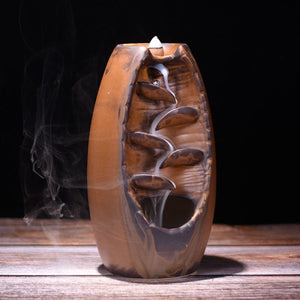 Ceramic Waterfall Backflow Incense Burner - Aromatherapy - Zen Ornament