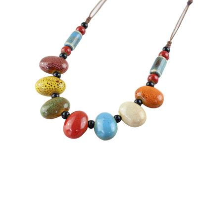 Boho Chic Ceramic Sweater Necklace