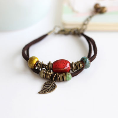 Boho Ceramic Leather Bracelet