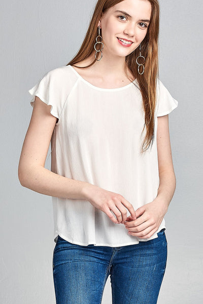 Ladies fashion short sleeve ruffled round neck strappy back detail crinkle gauze woven top