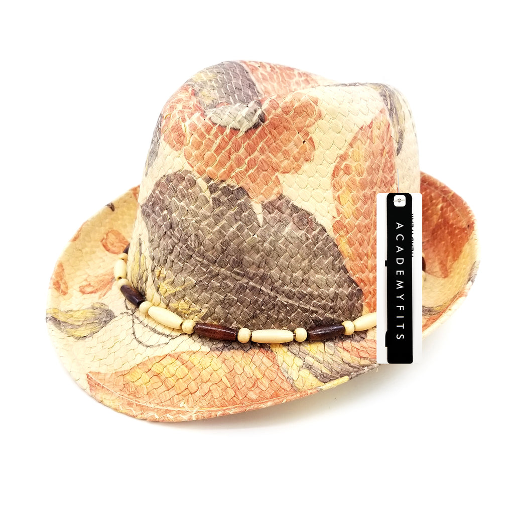 Patterned Fedora Straw Hat #SS16207