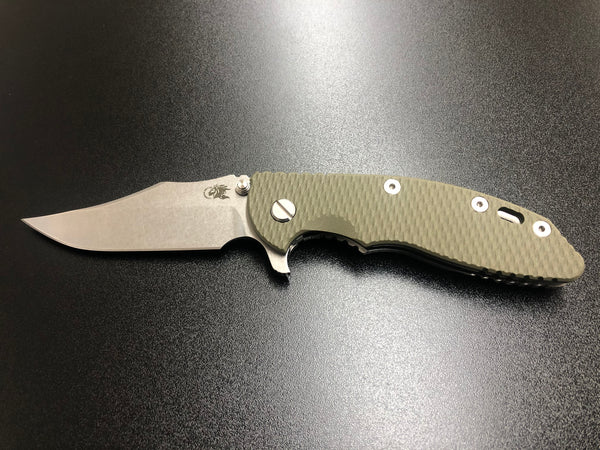"Hinderer XM-18 3.5"" Bowie OD Green G10/Stonewashed Ti"