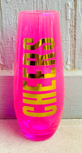 """Cheers"" neon pink champagne glass"