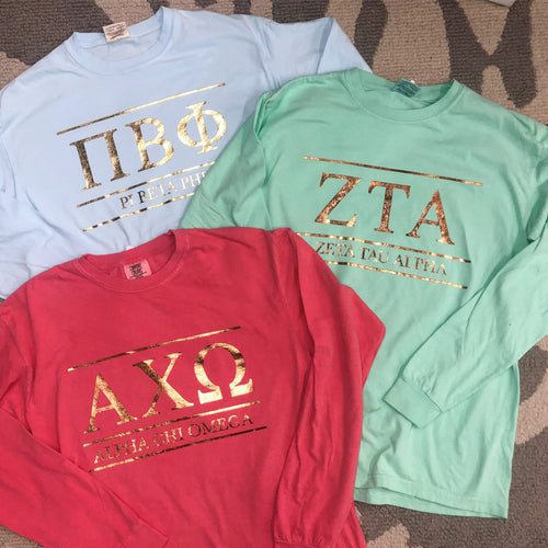 Sorority Gold Foil Long Sleeved Tee