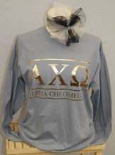 Sorority Long Sleeve Gold Foil Bar Design- Grey