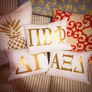 Sorority Gold Greek Letter Pillow- rectangle