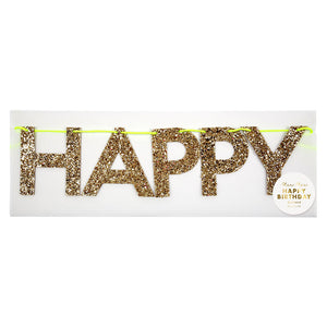 """Happy Birthday"" Gold Glitter Banner"
