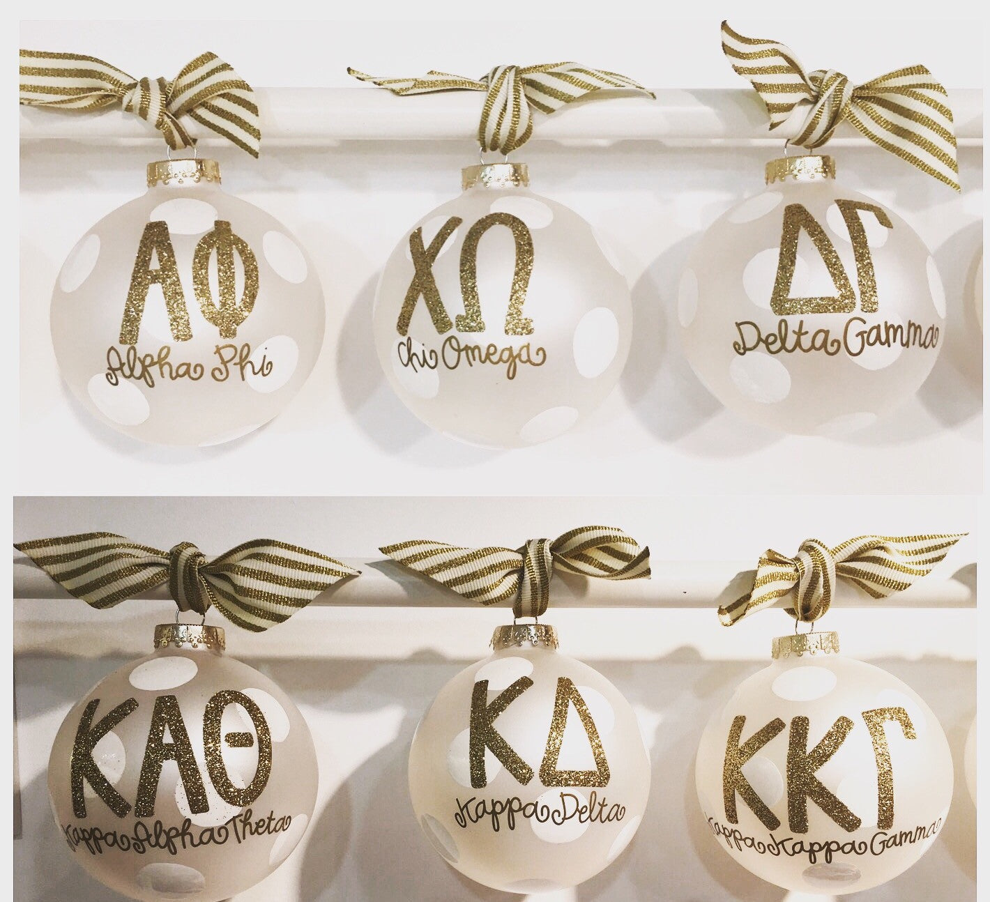 White and Gold Sorority Ornament – Paddle Tramps
