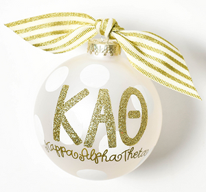 White and Gold Sorority Ornament