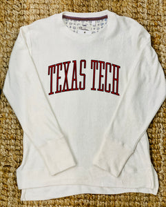 Texas Tech- Block Letter off white fuzzy pullover