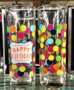 "Shot Glass Set of 2- ""Happy Birthday"""
