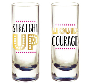"Shot Glass Set of 2- ""Liquid Courage"""