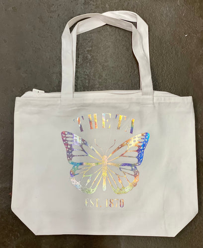 Theta iridescent butterfly tote bag