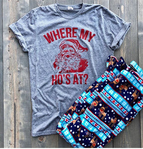 """Where My Ho's At"" Tee- Grey"