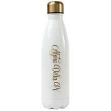 White and Gold Shimmer Sorority Water Bottle